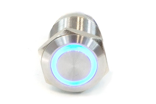 Phobya push-button vandalism-proof / bell push 16mm stainless steel, blue ring lighting 5pin