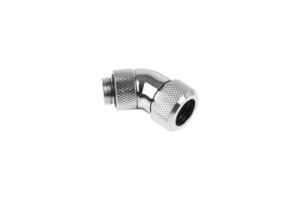 Alphacool Eiszapfen 13mm HardTube compression fitting 45° rotatable G1/4 - knurled - chrome
