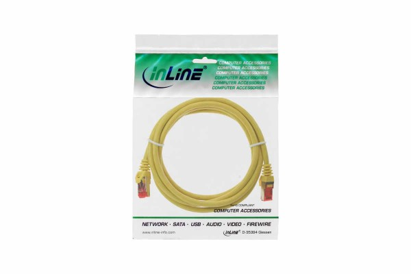 InLine® Patch Cable, S/FTP (PiMf), Cat.6,250MHz, PVC, copper, yellow, 0,5m