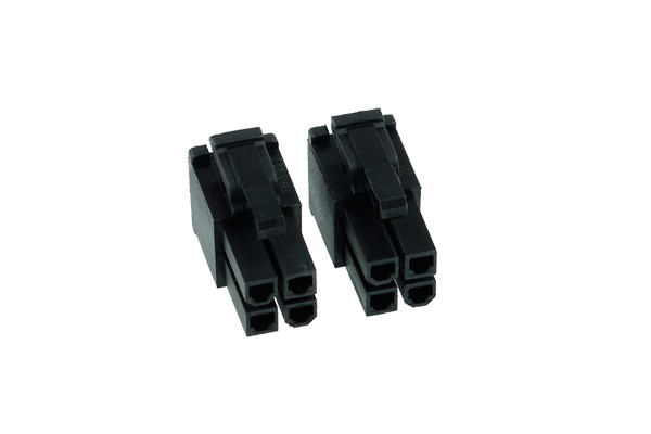 Phobya ATX Power Connector 4Pin male incl. 4 Pins - 2 pcs black