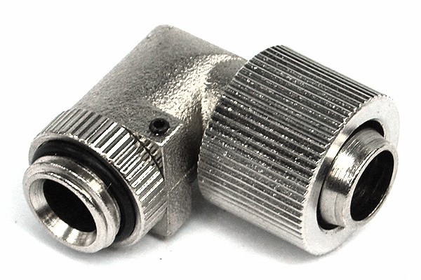 13/10mm (10x1,5mm) compression fitting 90? revolvable outer thread 1/4 - compact - silver nickel