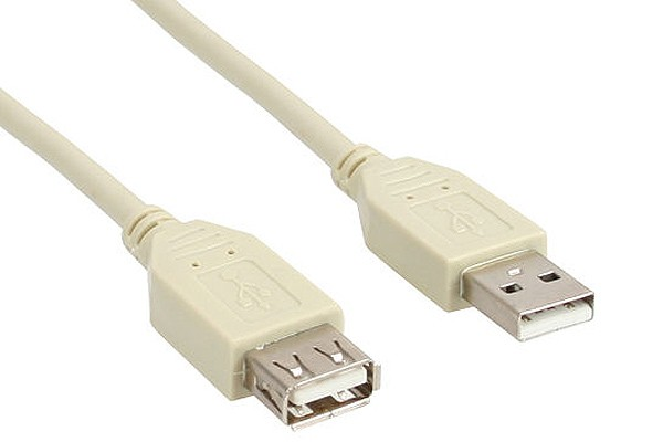InLine® USB 2.0 extension cable, beige, A M/F, 1.8m